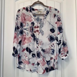 Norm Thompson Pink & Navy Floral Blouse